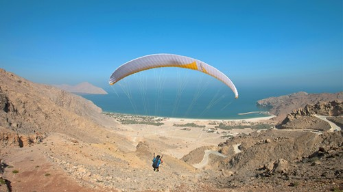 Paragliding into Six Senses Zighy Bay, Oman