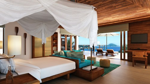 Bedroom view, Six Senses Zil Pasyon, Seychelles